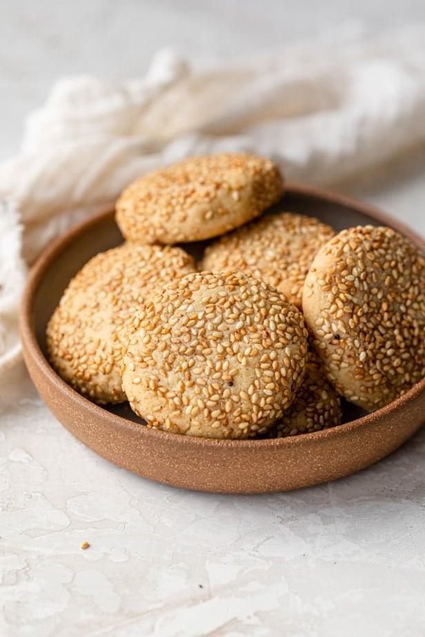 Honey & Tahini Cookies in bowl
